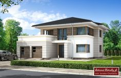House design Andromeda N m² - Domowe Klimaty Style At Home, Two Story House Design, Hip Roof, House Entrance, Home Fashion, My Dream Home, Bungalow, My House, Beautiful Homes