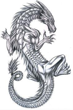 Grey-ink smiling climing demon dragon tattoo design