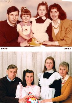 """""""The original was taken back in 1990 in USSR. I'm the older girl in my school uniform. Not sure why the studio decided to position us as if we're waiting for a very important phone call. Twenty-three years later and my dad is wearing the same exact sweater, my mom the same exact blouse and […]"""