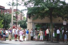 A line of loyal customers wait to enter our Famous Semi-Annual Tag Sale Private Preview Party!!