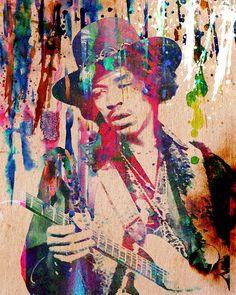 Jimi Hendrix Original Painting Art Print by Ryan, Nevada