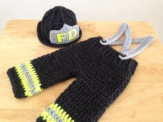 Newborn Baby Firefighter Fireman Hat Outfit, 2 pc Pant Set w/Suspenders, Photography Prop - MADE TO ORDER