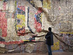 Another great #NYC #art exhibition now at the Brooklyn Museum! El Anatsui's artworks created from bottle caps and other recycled trash are fantastic!