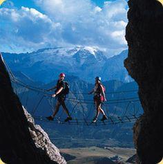 Via Ferrata Piazetta (5C) high above Arabba and the Pordoi Pass, Arabba, Belluno Province, Veneto Italy