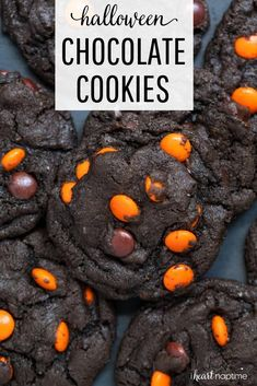 Soft and chewy triple chocolate chip cookies. Made with semi-sweet chips, chocolate chunks and cocoa powder. A chocolate lovers dream cookie! These triple choco Halloween Desserts, Halloween Chocolate, Halloween Food For Party, Halloween Candy, Triple Chocolate Chip Cookies, Chocolate Cookie Recipes, Köstliche Desserts, Delicious Desserts, Pasteles Halloween