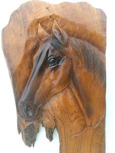 Horse Head Wood Carving Natural Teak Wood Hand by WoodCarvingArt