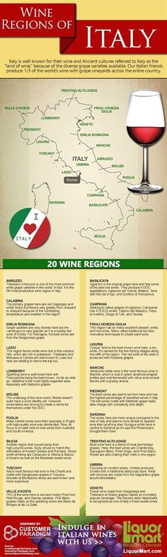 Wine Regions of Italy #infographic #wine #italian  #ItalyTravel