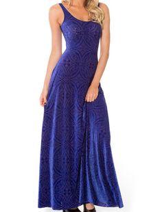Burned Velvet Blurple Maxi Dress - LIMITED (US $85USD) by Black Milk Clothing