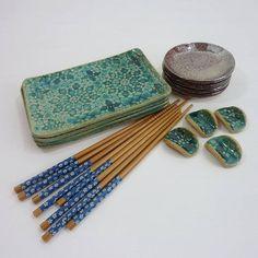 sushi set for 4 turquoise ceramic sushi dishes serving