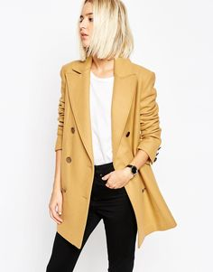 Image 1 of ASOS - Double Breasted Pea Coat Wool Mix