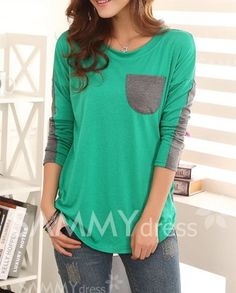 Perfectly Casual Color Block Ladylike Style Pocket Splicing Bat-Wing Sleeves T-shirt For Women