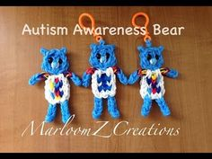 Rainbow Loom AUTISM BEAR. Designed and loomed by MarloomZ Creations. click photo for YouTube tutorial. 04/12/14.