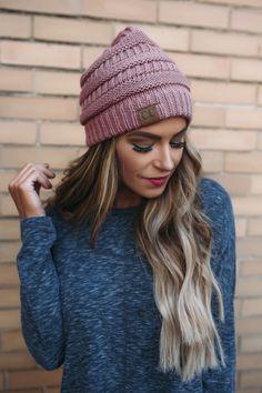 Knit Beanie- Mauve - Dottie Couture Boutique