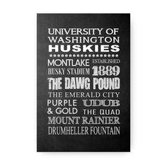 University of Washington Huskies Chalkboard by TheHeartComesHome