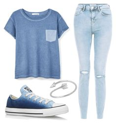 """""""Casual blue"""" by rmccollough139 ❤ liked on Polyvore featuring MANGO, New Look, Converse and Midsummer Star"""