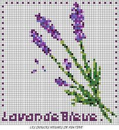 Lavande Bleue Free Cross Stitch Chart DMC:500,3362,988,3348,3807,550,327,554,3746,552