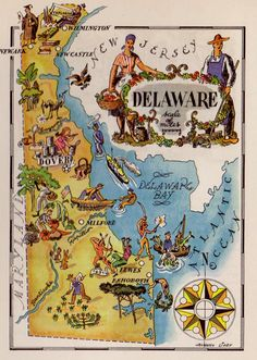 Delaware Map Print / Vintage Map Art / Book Page by Jacques Liozu / Map Wall Decor / State of Map Of Delaware, Delaware State, United States Map, 50 States, Pictorial Maps, Printable Maps, Printable Vintage, By Any Means Necessary, Map Wall Decor