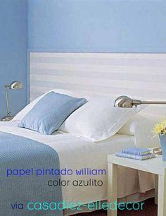 papel pintado rayas William azulito, telas & papel