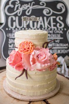 pink and orange flower wedding cake #weddingdessert #cake #sweettooth