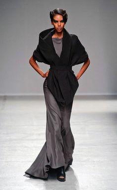 Gareth Pugh RS 2014 love black wrap over gray dress