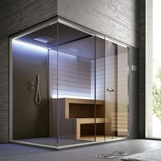 Spazio doccia + Sauna HAFRO-GEROMIN | Ethos Steam Room Shower, Sauna Steam Room, Sauna Room, Home Spa Room, Spa Rooms, Basement Sauna, Modern Saunas, Sauna Shower, Sauna House