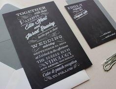 Chalkboard Modern Unique Wedding Invitations //DEPOSIT// by papela