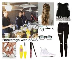 """Backstage with 5SOS (Luke's Girlfriend)"" by holcombeipod ❤ liked on Polyvore featuring Topshop, Converse, Kate Spade, Kylie Cosmetics and Maybelline"