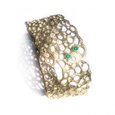 Malibu Cuff Bracelet with two Emeralds