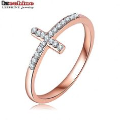 LZESHINE Fashion Jewelry Ring Rose Gold Plate Pave Austrian Crystals Cross Finger Ring For Lady Ri-HQ0396-A