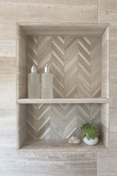 Beautiful chevron tiled shower niche | JNL Marble & Granite Inc.