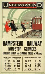 Hampstead Railway Non-Stop Services, by unknown artist ~ Published by Underground Electric Railway Company Ltd, 1910