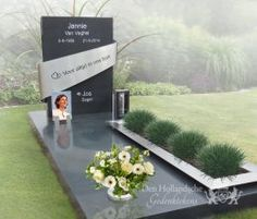 Contemporary burial monument of natural stone and stainless steel- Eigentijds grafmonument van natuursteen en rvs Contemporary burial monument of natural stone and stainless steel - Cemetery Monuments, Cemetery Headstones, Cemetery Art, New Images Hd, Blue Flower Arrangements, Tombstone Designs, Funeral Sprays, Cemetery Decorations, Memorial Park