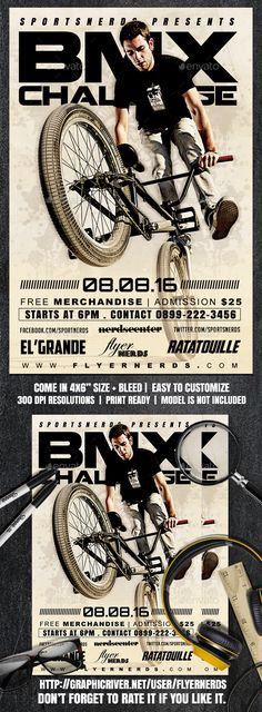 BMX Challenge Sports Flyer Design Template - Sports Events Flyer Template PSD. Download here: https://graphicriver.net/item/bmx-challenge-sports-flyer/16991727?s_rank=182&ref=yinkira