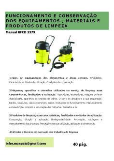 3379. Funcionamento e conservação de materiais, equipamentos e produtos de limpeza