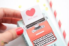"DIY ""The Love Machine"" Paper Typewriter Gift (Match)Box with Tutorial & Free Printable! Printable Box, Free Printables, Diy Paper, Paper Crafts, Papier Diy, Love Machine, Paper Toys, Be My Valentine, Diy Gifts"
