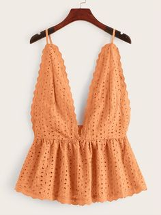 To find out about the Eyelet Embroidery Ruffle Hem Cami Top at SHEIN, part of our latest Tank Tops & Camis ready to shop online today! Summer Outfits, Girl Outfits, Cute Outfits, Fashion Outfits, Cami Tops, Women's Tops, Ladies Dress Design, Casual Tops, Spring Summer Fashion