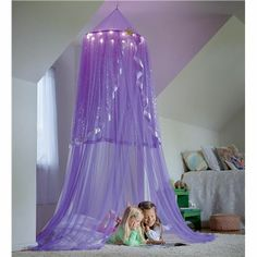 This would be so cute over a crib, or a little reading nook for little girls! LED Purple Starlight Bower