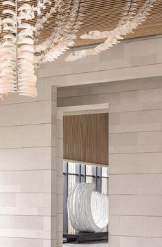 首发 |  WJID:极简素雅,如何打造出超凡脱俗的高级感!【环球设计2050期】 Ceiling Lamp, Ceiling Lights, Hotel Canopy, Lobby Design, Wallpaper Quotes, Interior Design Living Room, Blinds, Chandelier, Curtains
