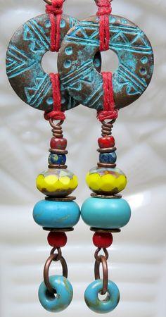Blue Yellow Red Czech Glass Bead Earrings, Patina Tribal Earrings, Dangle Earrings, Drop Earrings, Long Earrings, Antique Copper Earrings