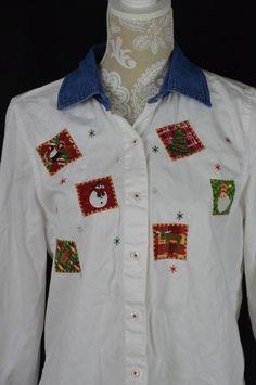 Womens Medium 8-10 White Christmas Long Sleeve Button Down Shirt Denim Collar #Unbranded #ButtonDownShirt #Casual