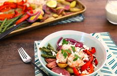 Weeknight dinners are a snap with a sheet pan meal. Prep the vegetables the night before to make it even easier. The creamy yogurt marinade doubles as a sauce for the finished meal. No Dairy Recipes, Healthy Recipes, Healthy Fats, Healthy Eating, Eat Better, Raw Vegetables, Dash Diet, Lean Protein, How To Make Breakfast