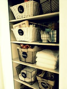 Linen Closet  I NEED to do this with ours. It looks so bad right now.