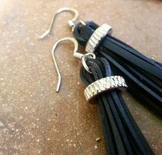Long Dangle Fringe Earrings  Upcycled Bike Parts by MoabBagCompany, $16.50