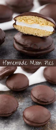 These Homemade Moon Pies are made completely from scratch with vanilla cookies sandwiched around gooey marshmallow and dipped in chocolate. #ad #50StatesofCookies @bobsredmill