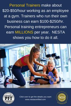 How much can I earn as a personal trainer?  Personal training entrepreneur | start a a job at a gym | Start a gym business | health club careers | open a gym | income for personal trainers | NESTA Personal Trainer Certification is accredited