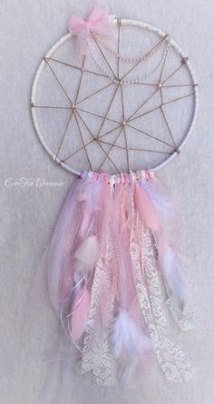 Hey, I found this really awesome Etsy listing at https://www.etsy.com/listing/205978795/tickled-pink-dreamcatcher-mobile-wall