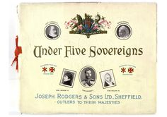 "Cover of ""Under Five Sovereigns"" a history of Joseph Rodgers and Sons Sheffield  from circa 1910"