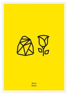 STONE ROSES, BANDAS ROCK EM PICTOGRAMAS.Rock Band Icons.After doing some research on icons design we decided to make this tribute to the bands we love. Literal Rock Band Icons.  O estúdio de design gráfico Tata&Friends criou uma série de posters pictográficos para simbolizar as maiores bandas de rock da história e da actualidade. Os símbolos são bastante literais e bem-humorados, usando setas e outros sinais que auxiliam na interpretação do pictograma.
