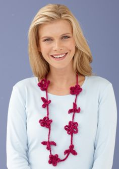 Crochet this stylish necklace for a quick and easy, last minute accessory to your outfit.