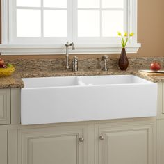 36 Risinger 6040 Offset Bowl Fireclay Farmhouse Sink Smooth in proportions 1500 X 1500 White Farmhouse Sink Pictures - A whole lot of new homeowners, Double Farmhouse Sink, Fireclay Farmhouse Sink, Farmhouse Sink Kitchen, Fresh Farmhouse, Modern Farmhouse, Farmhouse Style, Farmhouse Ideas, Farmhouse Decor, White Kitchen Sink